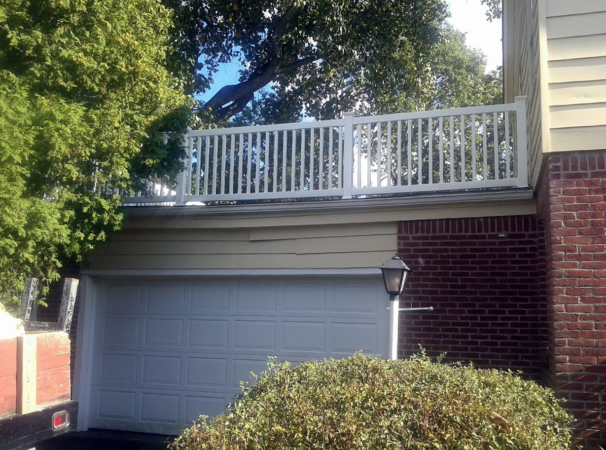 Capped Picket Style PVC Railing over Garage