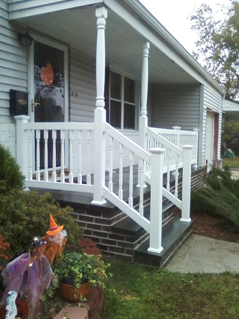 Porch Posts with Reno Style PVC Railing